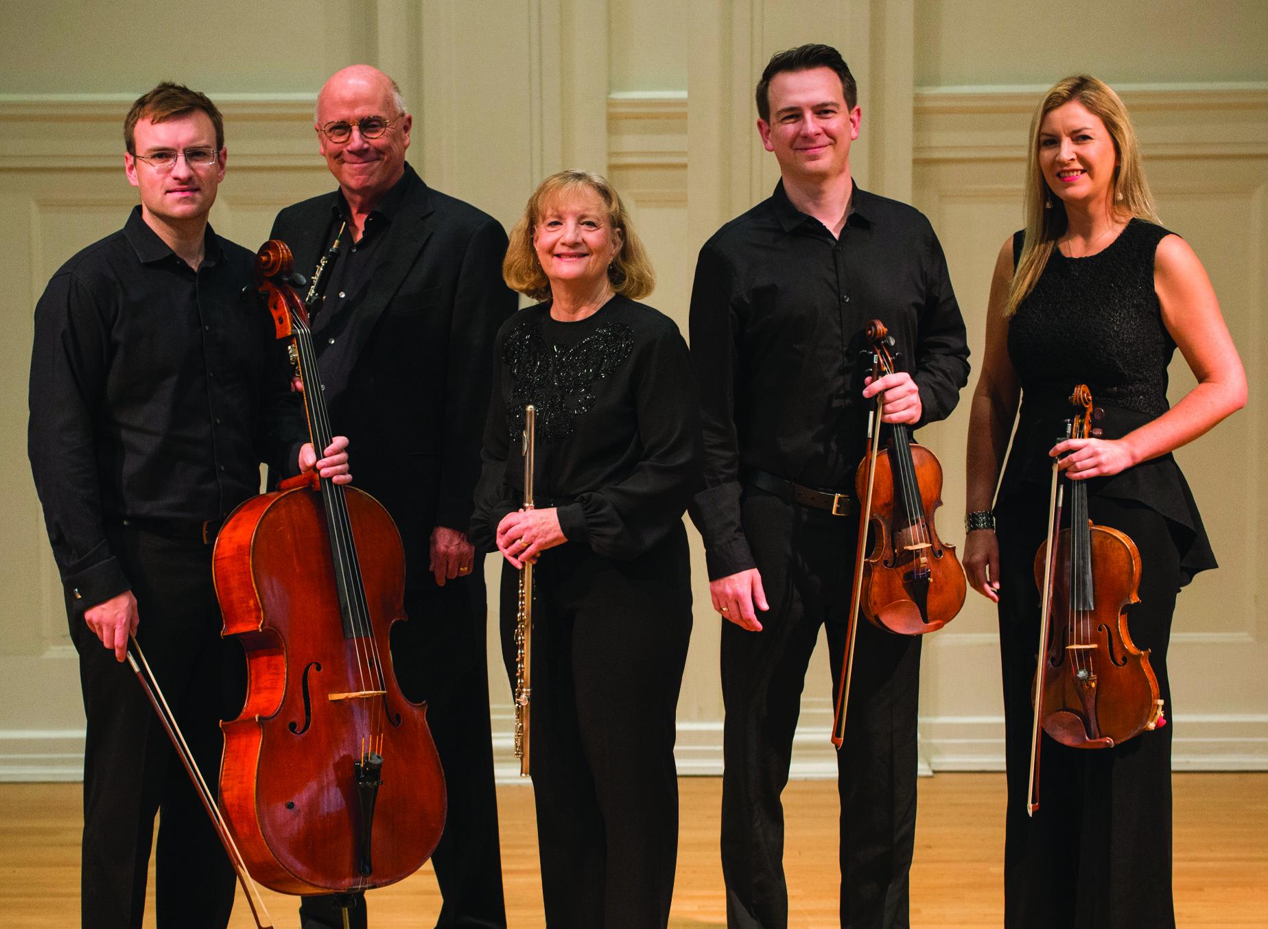 Group photo of Rembrandt Chamber Musicians. Calum Cook, Robert Morgan, Sandra Morgan, Collins Trier, Jeannie Yu, John Macfarlane, Carol Cook.